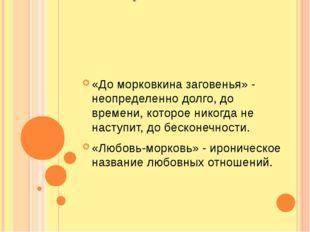Фразеологизм «До морковкина заговенья» - неопределенно долго, до времени, кот