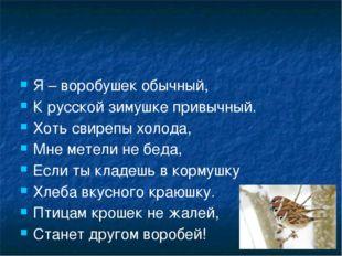 Я – воробушек обычный, К русской зимушке привычный. Хоть свирепы холода, Мне