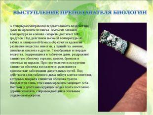 А теперь рассмотрим последовательность воздействия дыма на организм человека.