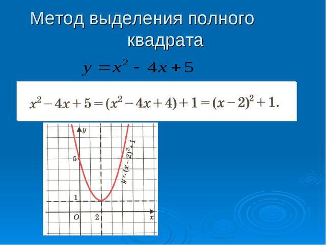Метод выделения полного квадрата