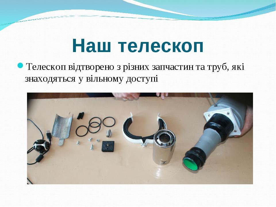 Наш телескоп Телескоп відтворено з різних запчастин та труб, які знаходяться...