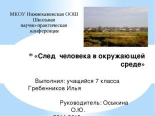 «След человека в окружающей среде» МКОУ Нижнекаменская ООШ Школьная научно-пр