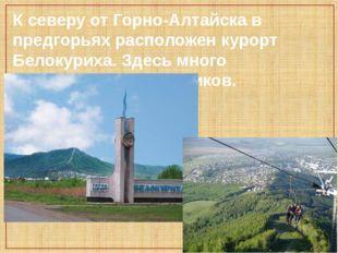 К северу от Горно-Алтайска в предгорьях расположен курорт Белокуриха. Здесь м