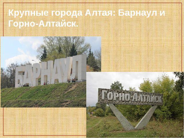 Крупные города Алтая: Барнаул и Горно-Алтайск.