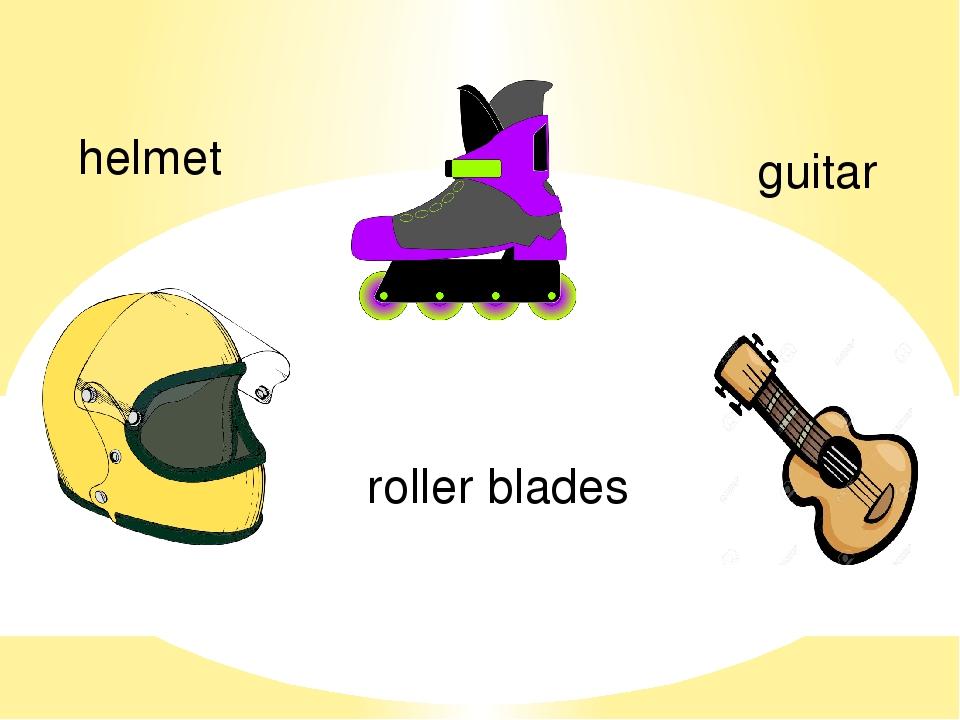 helmet roller blades guitar