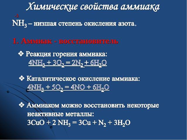 -3 1. Аммиак - восстановитель