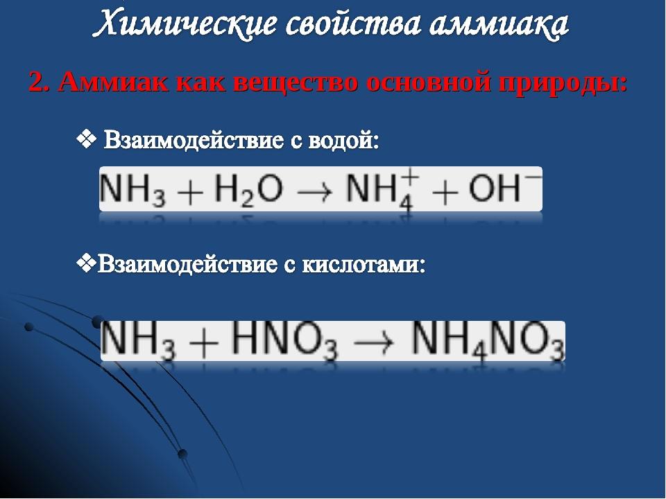 2. Аммиак как вещество основной природы: