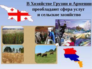 В Хозяйстве Грузии и Армении преобладают сфера услуг и сельское хозяйство