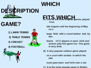 WHICH DESCRIPTION FITS WHICH GAME? 1) LAWN TENNIS 2) TABLE TENNIS 3) CRICKET