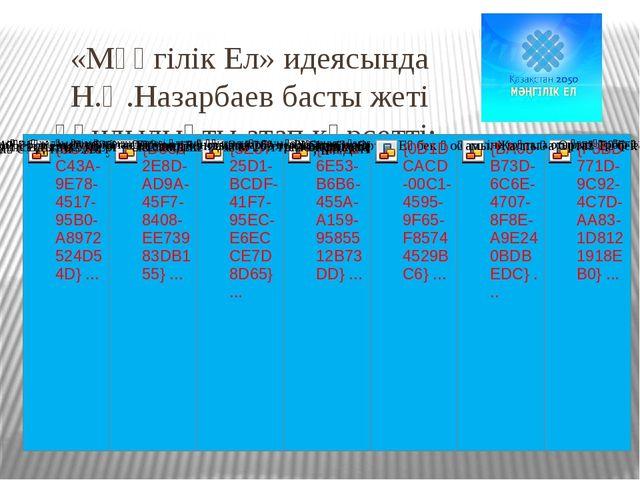 «Мәңгілік Ел» идеясында Н.Ә.Назарбаев басты жеті құндылықты атап көрсетті: