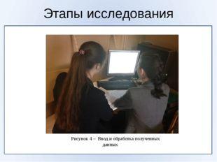 Этапы исследования Рисунок 4 – Ввод и обработка полученных данных
