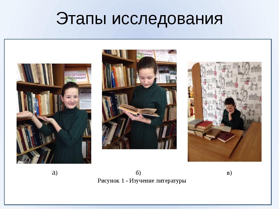 Этапы исследования а) б) в) Рисунок 1 - Изучение литературы