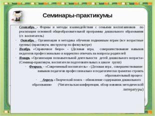 Семинары-практикумы Методическая планерка Ежемесячно 3.1. Утверждение плана р