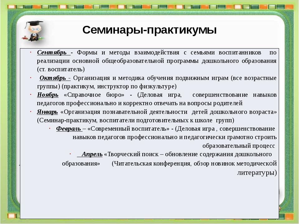 Семинары-практикумы Методическая планерка Ежемесячно 3.1. Утверждение плана р...