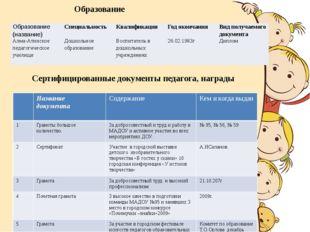 Сертифицированные документы педагога, награды Образование Образование(назван