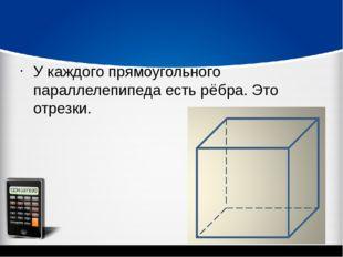 У каждого прямоугольного параллелепипеда есть рёбра. Это отрезки.