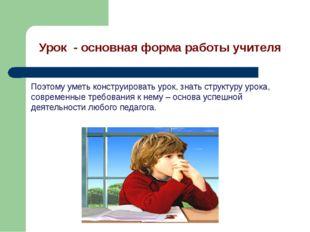 Урок - основная форма работы учителя Поэтому уметь конструировать урок, знать