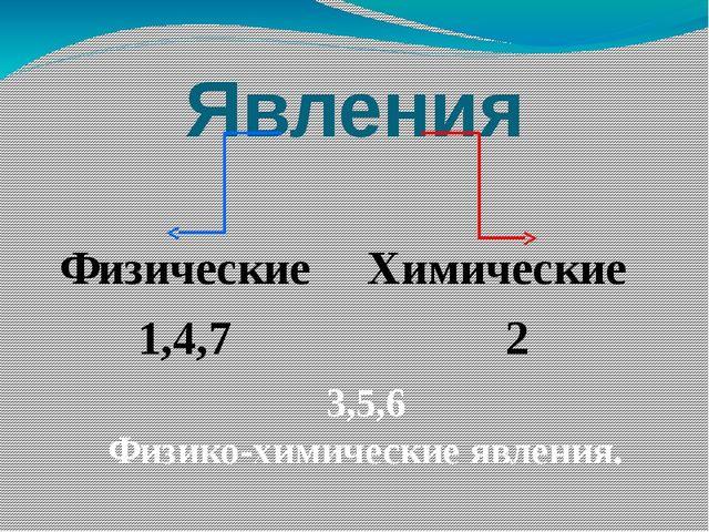 Явления Физические 1,4,7 Химические 2 3,5,6 Физико-химические явления.