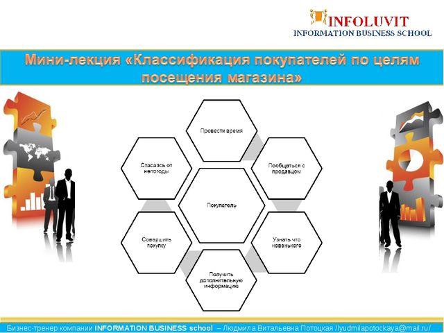 Бизнес-тренер компании INFORMATION BUSINESS school – Людмила Витальевна Потоц...