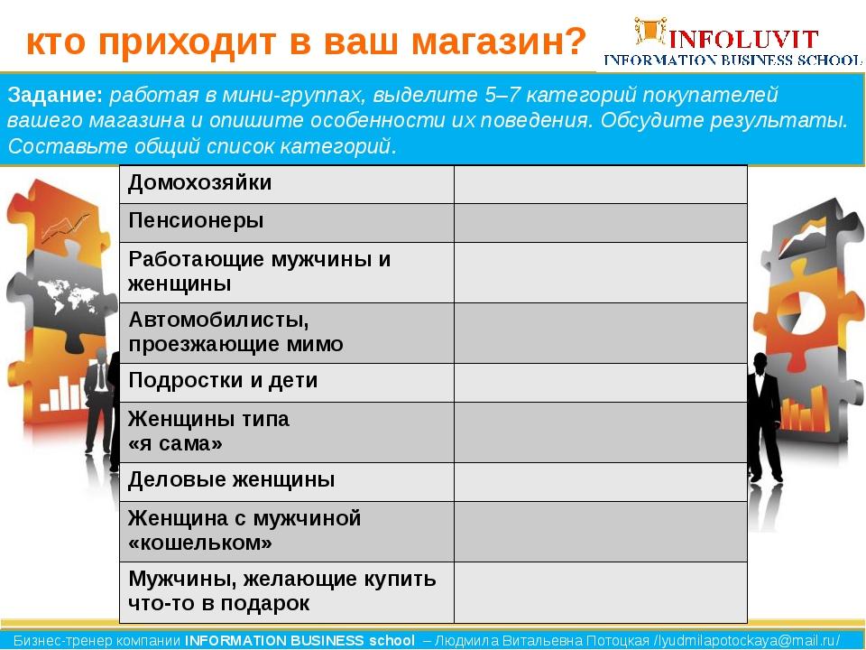 Задание: работая в мини-группах, выделите 5–7 категорий покупателей вашего ма...