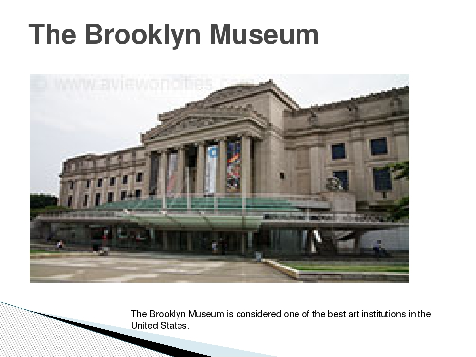 The Brooklyn Museum The Brooklyn Museum is considered one of the best art ins...