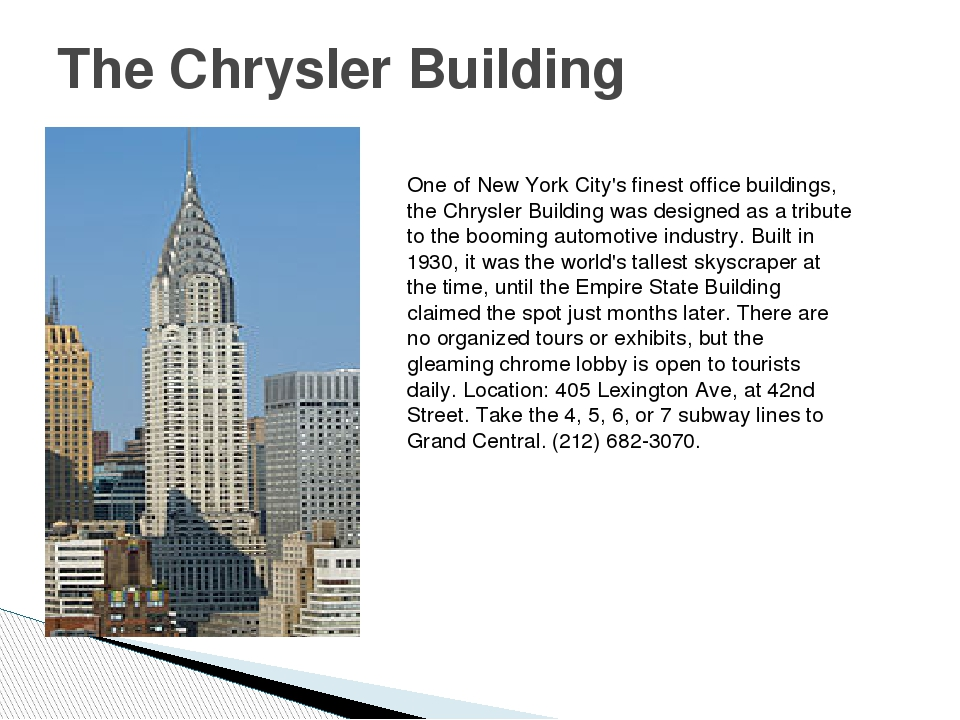 The Chrysler Building One of New York City's finest office buildings, the Chr...