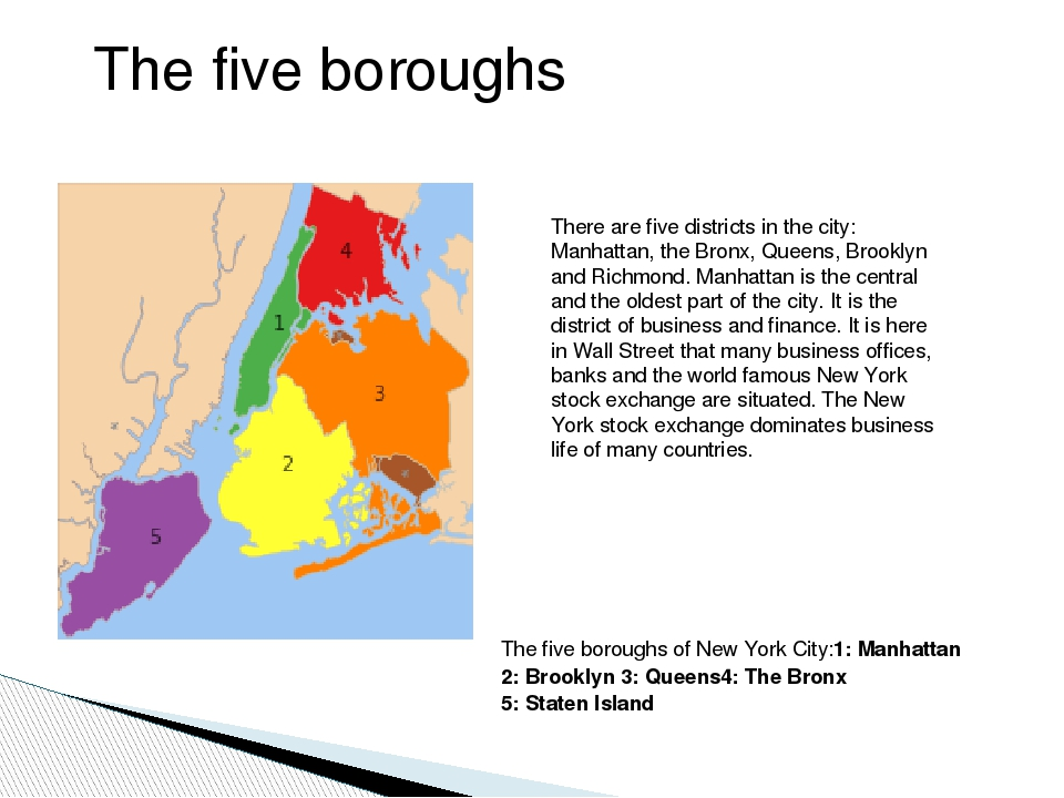 The five boroughs of New York City:1: Manhattan 2: Brooklyn 3: Queens4: The...