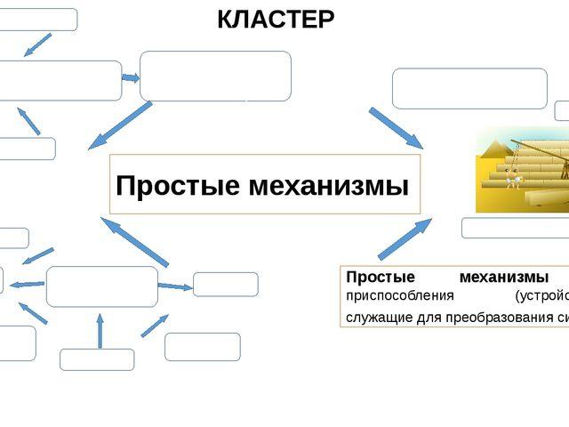 Простые механизмы КЛАСТЕР виды рычаг наклонная плоскость клин ворот винт блок...