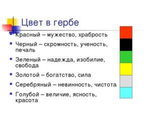 Цвет в гербе Красный – мужество, храбрость Черный – скромность, ученость, печ