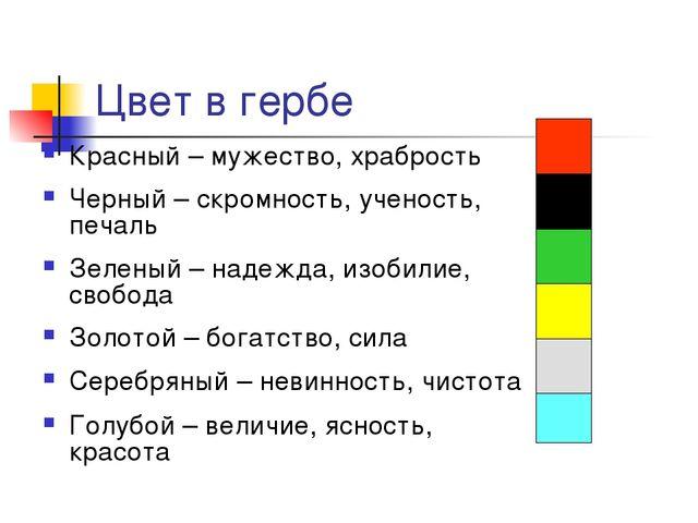 Цвет в гербе Красный – мужество, храбрость Черный – скромность, ученость, печ...