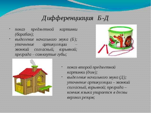 Дифференциация Б-Д показ предметной картинки (барабан); выделение начального...