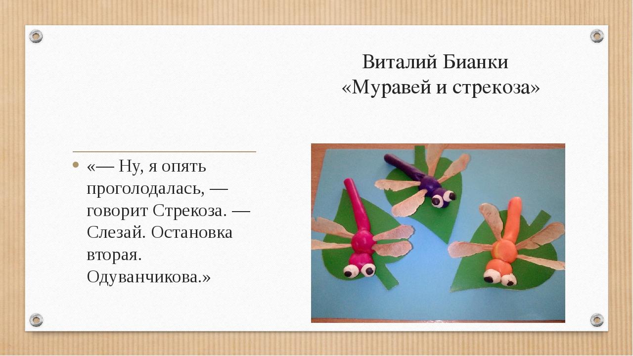 Виталий Бианки «Муравей и стрекоза» «— Ну, я опять проголодалась, — говорит С...