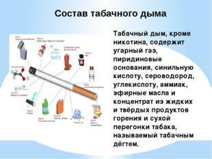 Табачный дым, кроме никотина, содержит угарный газ, пиридиновые основания, си