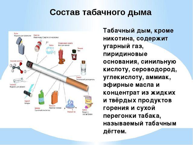 Табачный дым, кроме никотина, содержит угарный газ, пиридиновые основания, си...