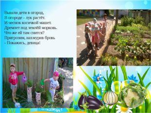Вышли дети вогород, В огороде - лук растёт. И чеснок косичкой машет. Дремлет