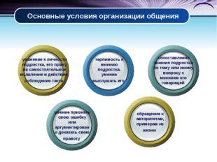 Основные условия организации общения уважение к личности подростка, его праву