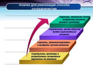 Анализ для реализации способа сотрудничества Определить проблему и разработат
