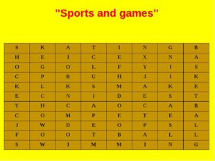 """Sports and games"" S K A T I N G B H E I C E X N A O G O L F Y I S C P R U H"