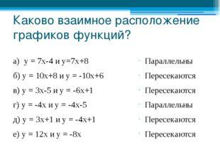 Каково взаимное расположение графиков функций? а) у = 7х-4 и у=7х+8 б) у = 10