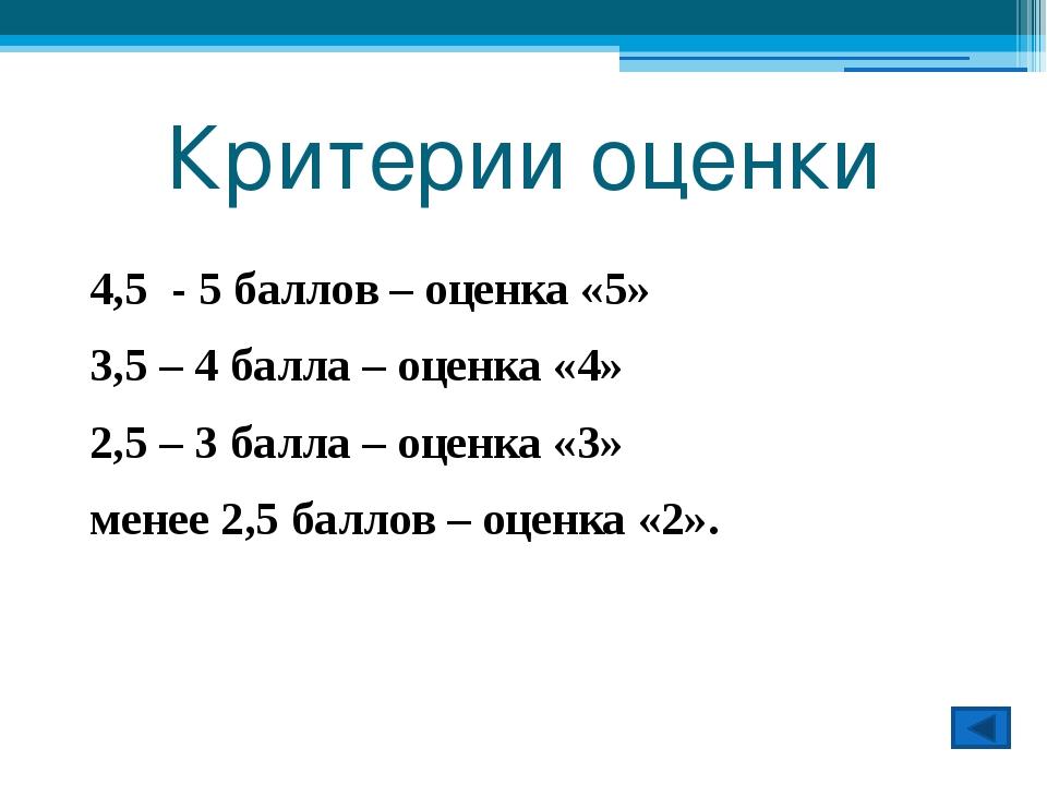 Критерии оценки 4,5 - 5 баллов – оценка «5» 3,5 – 4 балла – оценка «4» 2,5 –...