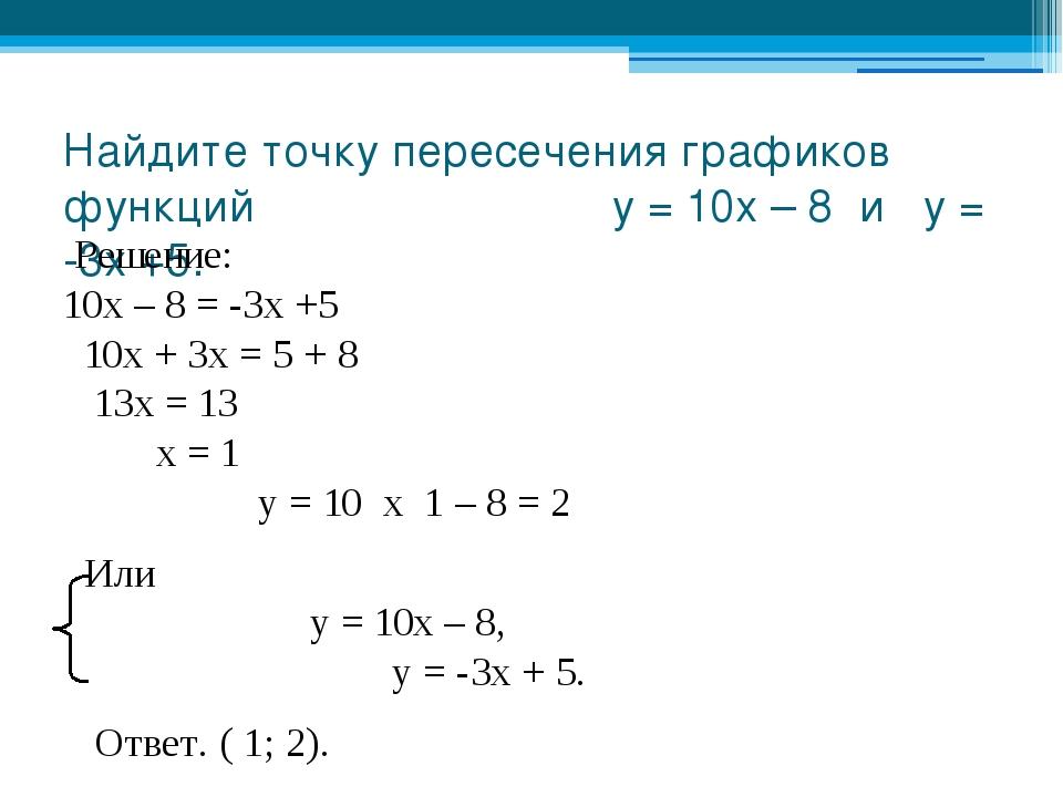 Найдите точку пересечения графиков функций у = 10х – 8 и у = -3х +5. Решение:...