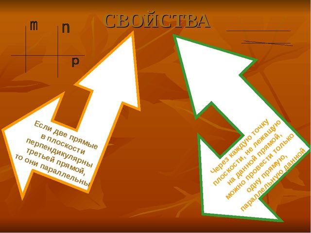 СВОЙСТВА Если две прямые в плоскости перпендикулярны третьей прямой, то они п...