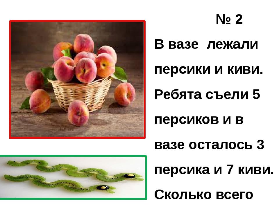 № 2 В вазе лежали персики и киви. Ребята съели 5 персиков и в вазе осталось...