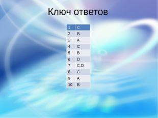 Ключ ответов 1 С 2 B 3 A 4 C 5 B 6 D 7 C,D 8 C 9 A 10 B