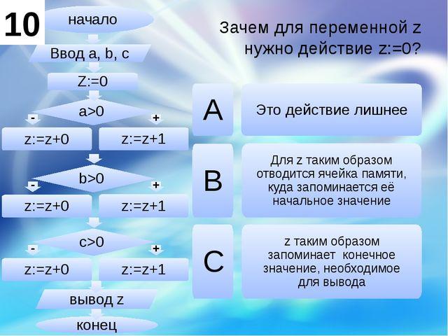 Зачем для переменной z нужно действие z:=0? А B C Это действие лишнее z таким...