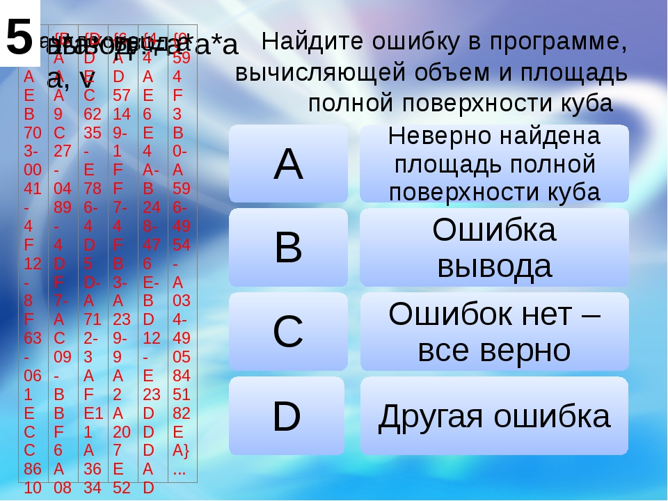 Найдите ошибку в программе, вычисляющей объем и площадь полной поверхности ку...