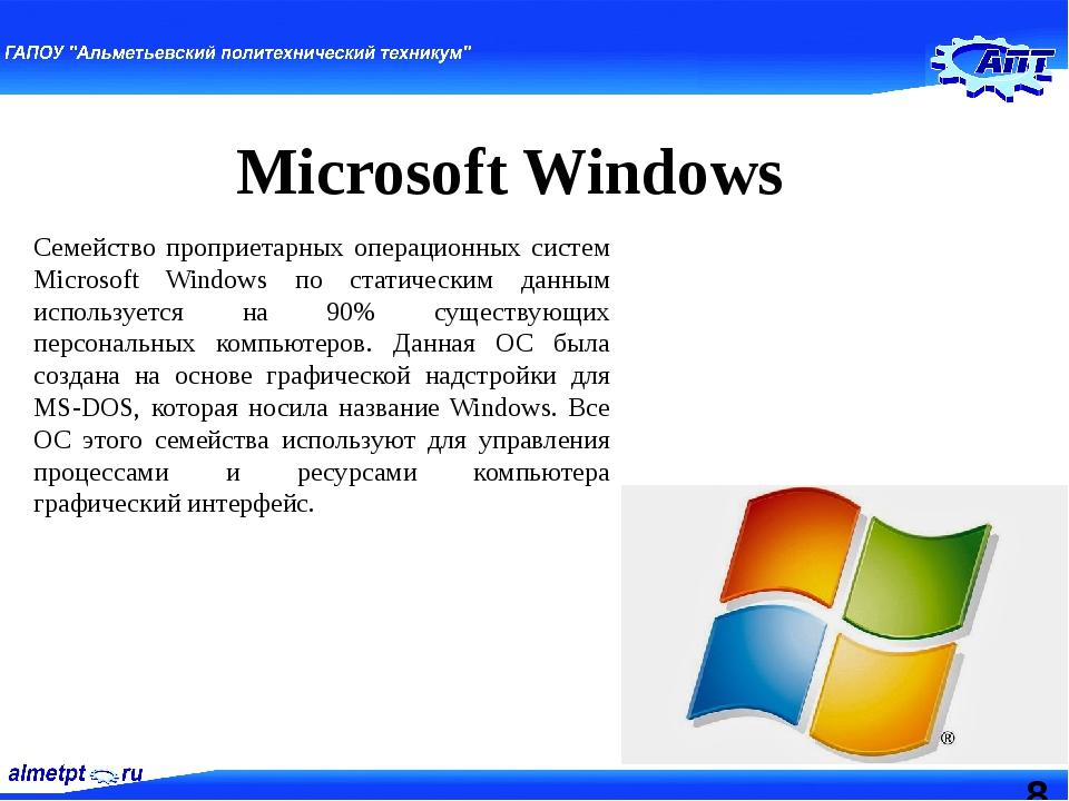 Microsoft Windows Семейство проприетарных операционных систем Microsoft Wind...
