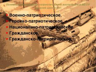 Основные направления патриотического воспитания в МБОУ средней школе №1: Воен