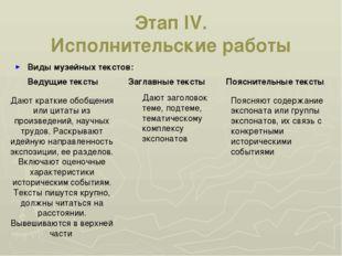 Этап IV. Исполнительские работы Виды музейных текстов: Ведущие тексты Заглавн
