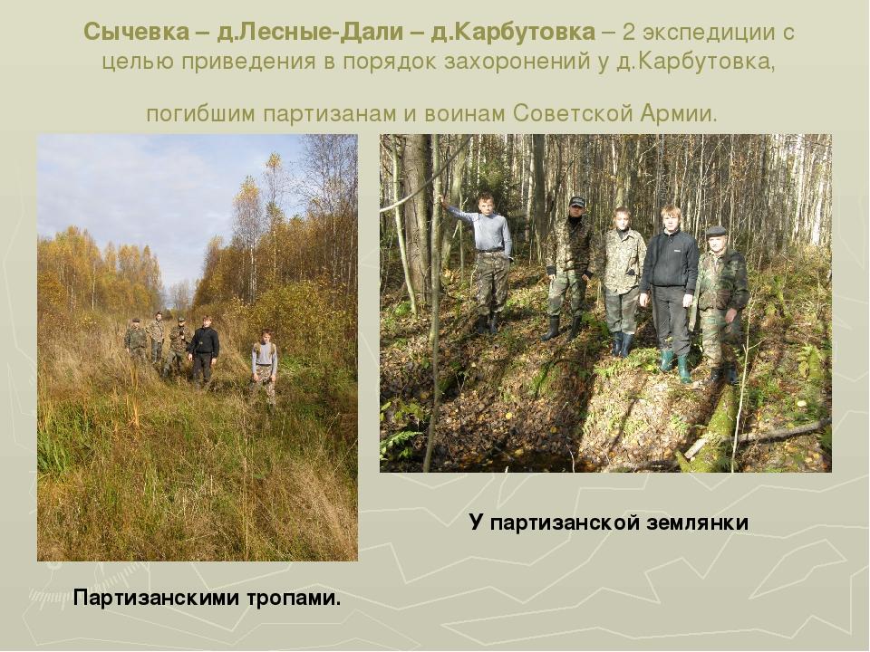 Сычевка – д.Лесные-Дали – д.Карбутовка – 2 экспедиции с целью приведения в по...